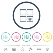 Dashboard settings flat color icons in round outlines. 6 bonus icons included. - Dashboard settings flat color icons in round outlines