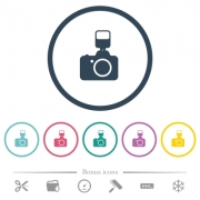 Camera with flash flat color icons in round outlines. 6 bonus icons included. - Camera with flash flat color icons in round outlines