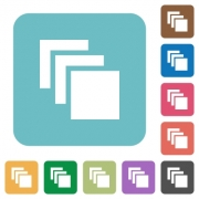 Multiple canvases white flat icons on color rounded square backgrounds - Multiple canvases rounded square flat icons