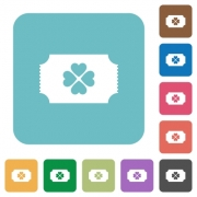 Lottery ticket white flat icons on color rounded square backgrounds - Lottery ticket rounded square flat icons