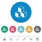 Cubes flat white icons on round color backgrounds. 6 bonus icons included. - Cubes flat round icons