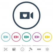 IP camera flat color icons in round outlines. 6 bonus icons included. - IP camera flat color icons in round outlines