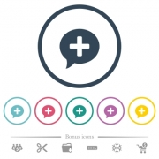 Add comment flat color icons in round outlines. 6 bonus icons included. - Add comment flat color icons in round outlines