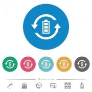 Renewable energy flat white icons on round color backgrounds. 6 bonus icons included. - Renewable energy flat round icons