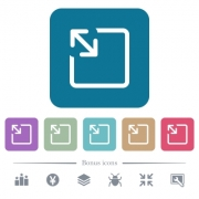 Resize object white flat icons on color rounded square backgrounds. 6 bonus icons included - Resize object flat icons on color rounded square backgrounds