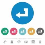 Return key flat white icons on round color backgrounds. 6 bonus icons included. - Return key flat round icons