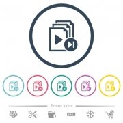 Jump to next playlist item flat color icons in round outlines. 6 bonus icons included. - Jump to next playlist item flat color icons in round outlines