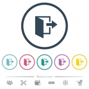 Leave flat color icons in round outlines. 6 bonus icons included. - Leave flat color icons in round outlines