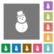Snowman flat icons on simple color square backgrounds - Snowman square flat icons