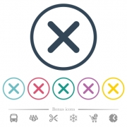Cross flat color icons in round outlines. 6 bonus icons included. - Cross flat color icons in round outlines