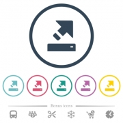 Export flat color icons in round outlines. 6 bonus icons included. - Export flat color icons in round outlines
