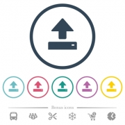 Open flat color icons in round outlines. 6 bonus icons included. - Open flat color icons in round outlines