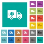 Fast delivery truck multi colored flat icons on plain square backgrounds. Included white and darker icon variations for hover or active effects. - Fast delivery truck square flat multi colored icons