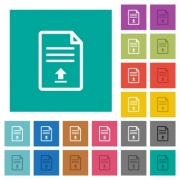 Upload document multi colored flat icons on plain square backgrounds. Included white and darker icon variations for hover or active effects. - Upload document square flat multi colored icons