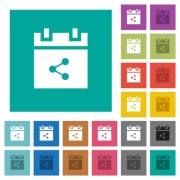 Share schedule item multi colored flat icons on plain square backgrounds. Included white and darker icon variations for hover or active effects. - Share schedule item square flat multi colored icons