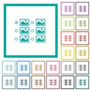 Single image selection with radio buttons flat color icons with quadrant frames on white background