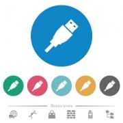 USB plug flat white icons on round color backgrounds. 6 bonus icons included. - USB plug flat round icons