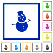 Snowman flat color icons in square frames on white background - Snowman flat framed icons