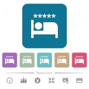 Luxury hotel white flat icons on color rounded square backgrounds. 6 bonus icons included - Luxury hotel flat icons on color rounded square backgrounds