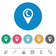 Call box GPS map location flat white icons on round color backgrounds. 6 bonus icons included. - Call box GPS map location flat round icons - Large thumbnail
