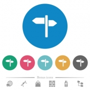 Signpost flat white icons on round color backgrounds. 6 bonus icons included. - Signpost flat round icons - Large thumbnail