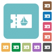 cruise discount coupon white flat icons on color rounded square backgrounds - cruise discount coupon rounded square flat icons - Large thumbnail