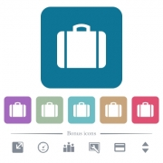 Suitcase white flat icons on color rounded square backgrounds. 6 bonus icons included - Suitcase flat icons on color rounded square backgrounds