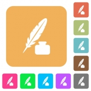 Feather and ink bottle flat icons on rounded square vivid color backgrounds. - Feather and ink bottle rounded square flat icons