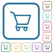Empty shopping cart simple icons in color rounded square frames on white background - Empty shopping cart simple icons