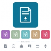 Download document white flat icons on color rounded square backgrounds. 6 bonus icons included - Download document flat icons on color rounded square backgrounds