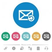 Undelete mail flat white icons on round color backgrounds. 6 bonus icons included. - Undelete mail flat round icons