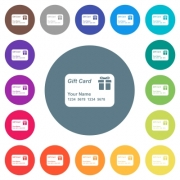 Gift card with name and numbers flat white icons on round color backgrounds. 17 background color variations are included. - Gift card with name and numbers flat white icons on round color backgrounds