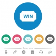 Winner ticket flat white icons on round color backgrounds. 6 bonus icons included. - Winner ticket flat round icons