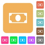 Single banknote flat icons on rounded square vivid color backgrounds. - Single banknote rounded square flat icons