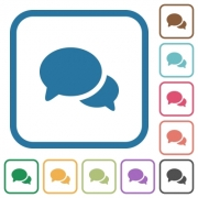 Discussion simple icons in color rounded square frames on white background - Discussion simple icons