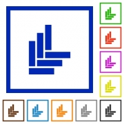 Parquet pattern flat color icons in square frames on white background - Parquet pattern flat framed icons