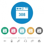 Browser 308 Permanent Redirect flat white icons on round color backgrounds. 6 bonus icons included. - Browser 308 Permanent Redirect flat round icons