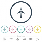 Wind turbine flat color icons in round outlines. 6 bonus icons included. - Wind turbine flat color icons in round outlines