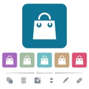Shopping bag white flat icons on color rounded square backgrounds. 6 bonus icons included - Shopping bag flat icons on color rounded square backgrounds