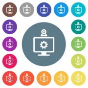 Webcam settings flat white icons on round color backgrounds. 17 background color variations are included. - Webcam settings flat white icons on round color backgrounds
