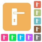 Right handed simple door handle flat icons on rounded square vivid color backgrounds. - Right handed simple door handle rounded square flat icons