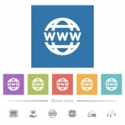 WWW globe flat white icons in square backgrounds. 6 bonus icons included. - WWW globe flat white icons in square backgrounds