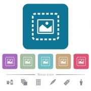 Place image white flat icons on color rounded square backgrounds. 6 bonus icons included - Place image flat icons on color rounded square backgrounds
