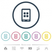 Mobile applications flat color icons in round outlines. 6 bonus icons included. - Mobile applications flat color icons in round outlines