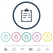 Task list flat color icons in round outlines. 6 bonus icons included. - Task list flat color icons in round outlines