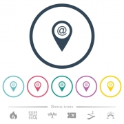 Send GPS map location as email flat color icons in round outlines. 6 bonus icons included. - Send GPS map location as email flat color icons in round outlines