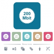 200 mbit guarantee sticker white flat icons on color rounded square backgrounds. 6 bonus icons included - 200 mbit guarantee sticker flat icons on color rounded square backgrounds