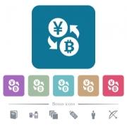 Yen Bitcoin money exchange white flat icons on color rounded square backgrounds. 6 bonus icons included - Yen Bitcoin money exchange flat icons on color rounded square backgrounds