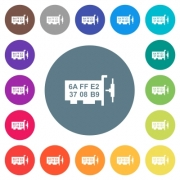 Network mac address flat white icons on round color backgrounds. 17 background color variations are included. - Network mac address flat white icons on round color backgrounds