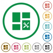 Dashboard tools flat color icons in round outlines on white background - Dashboard tools flat icons with outlines